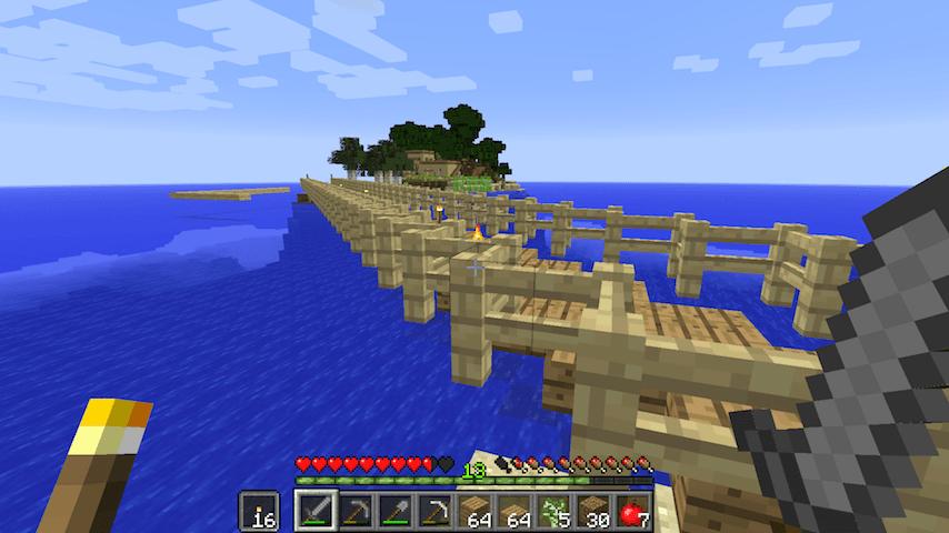 牧場の通路からまっすぐ伸びている橋