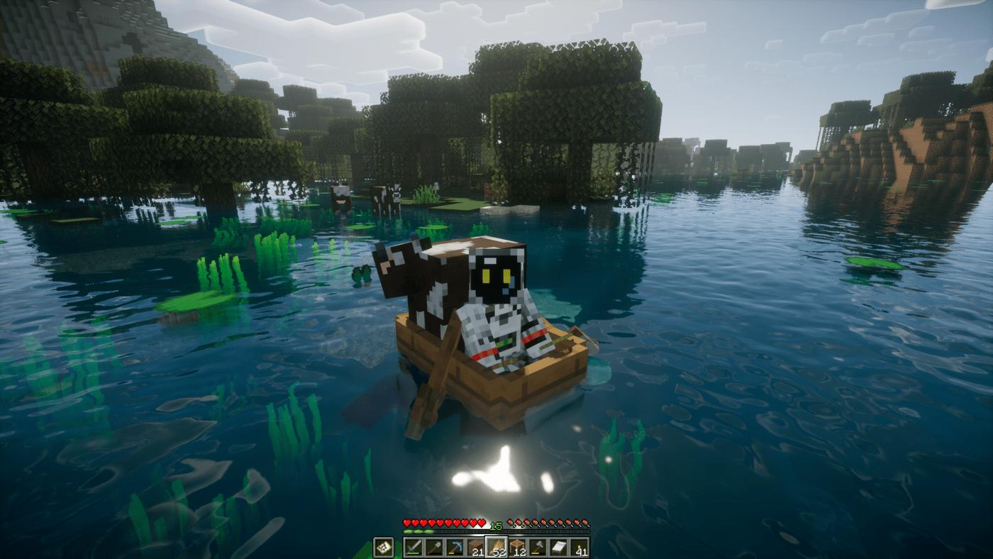 牛とボートに同乗
