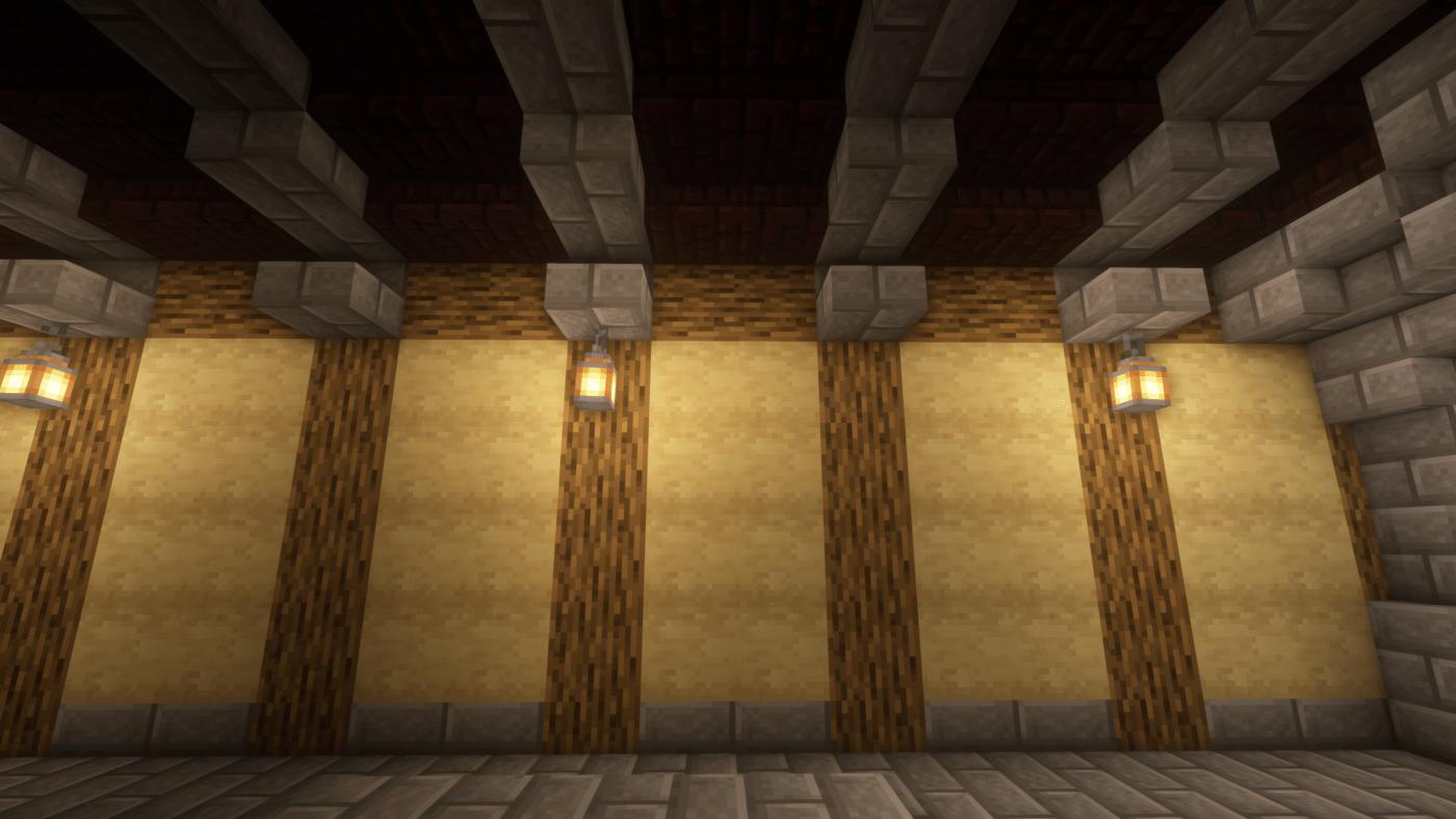 土台を高さ1ブロックにすると圧迫感があったので床はハーフブロック